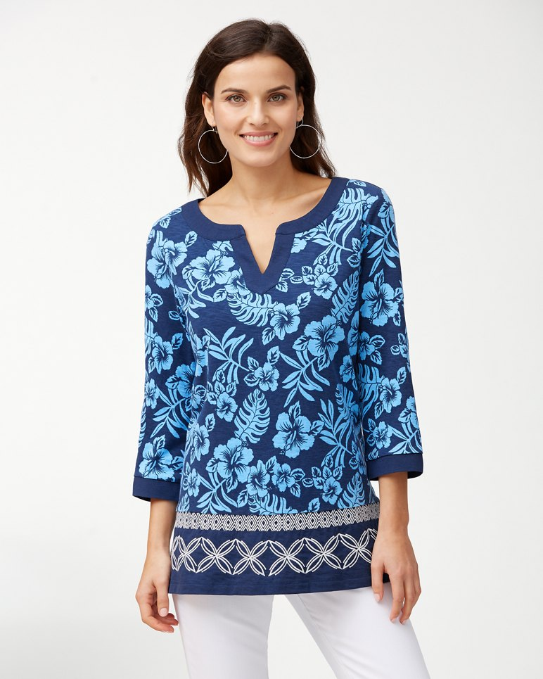 Main Image for Hoani Hibiscus Embroidered Tunic
