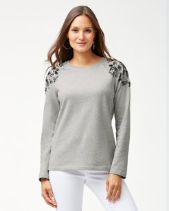 Sea Glass Embellished Crewneck Sweatshirt