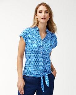 Batik Tile Linen Tie Knit Shirt