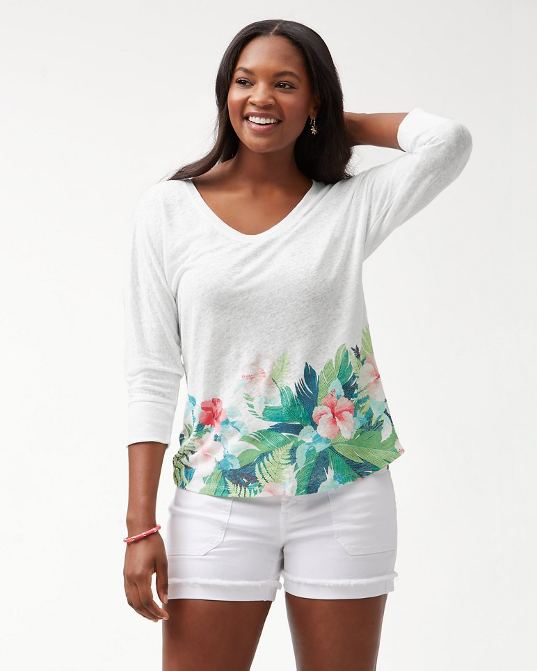 Main Image for Hibiscus Hues Linen T-Shirt