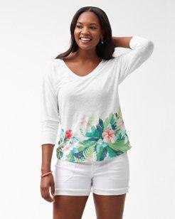 Hibiscus Hues Linen T-Shirt