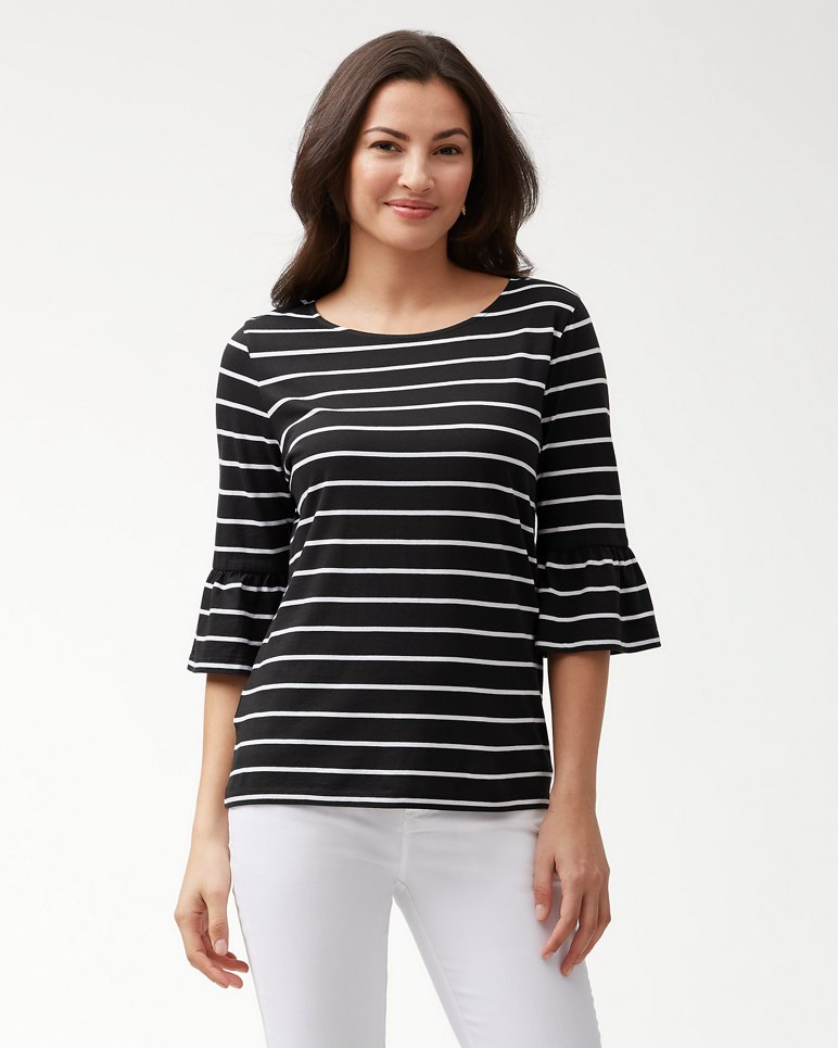 Main Image for One Wave Or Another 3/4-Ruffle-Sleeve Top
