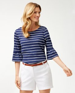 One Wave Or Another 3/4-Ruffle-Sleeve Top