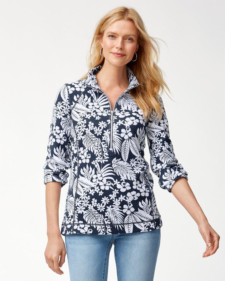 Main Image for Aruba Hibiscus Bliss Half-Zip Sweatshirt