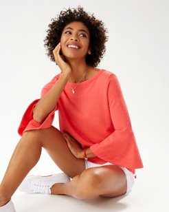 Sea Glass Bell-Sleeve Sweatshirt