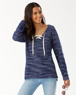 French Terry Stripe Lace-Up Tunic
