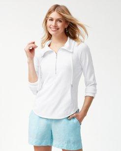 Sea Glass Cowl Half-Zip Sweatshirt