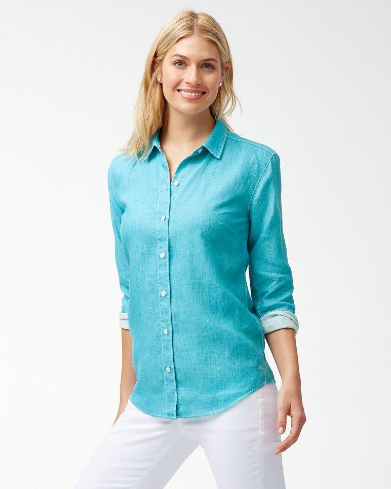 Main Image for Sea Glass Breezer Linen Boyfriend Shirt
