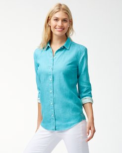 Sea Glass Breezer Linen Boyfriend Shirt