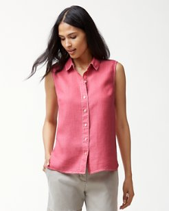 Sea Glass Breezer Sleeveless Linen Shirt