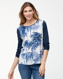 Mirage Palms Long-Sleeve Silk-Front Crewneck Shirt