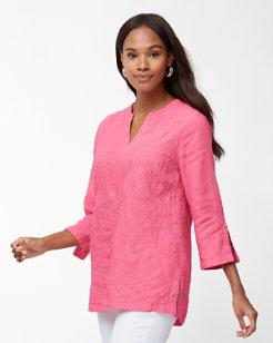 Monstera Mash Embroidered Linen Tunic