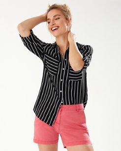 Savanna Stripe Silk Cargo Shirt