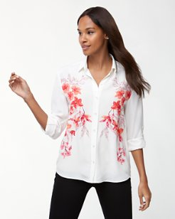 Bedoin Blossoms Long-Sleeve Silk Shirt