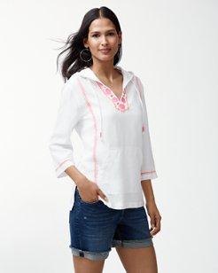 Esmeralda Embroidered Linen Hoodie