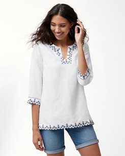 Prim Piña Embroidered Linen-Blend Tunic
