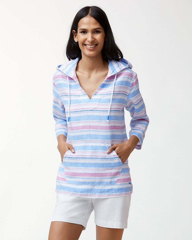 Main Image for Tulum Stripe Linen Hoodie