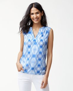 Izabella Ikat Gauze Sleeveless Top