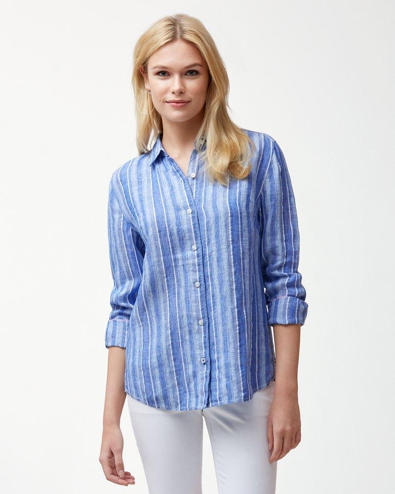 Santiago Stripe Linen-Blend Shirt | Tuggl