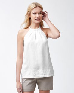 Embroidered Linen-Blend Halter Top