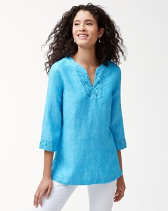 Sunset Chambray Linen Embellished Tunic