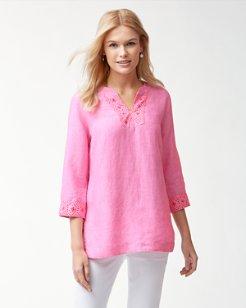 Sunset Chambray Linen Embellished Tunic