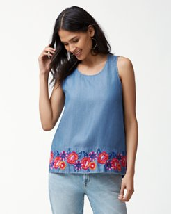 Frieda Floral Embroidered Shell