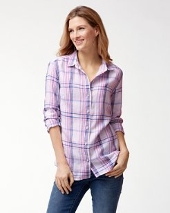 Palazzo Plaid Linen Shirt
