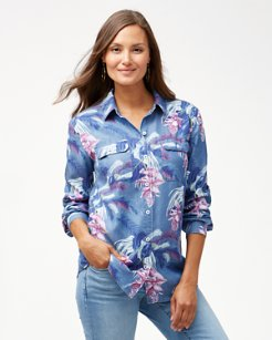 Magnifica Blooms Long-Sleeve Chambray Top