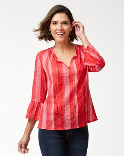 Stripe Down 3/4-Sleeve Shirt