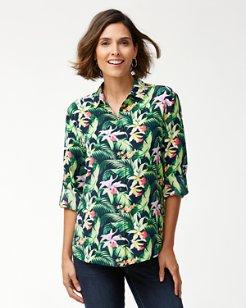 Blazing Blooms Long-Sleeve Silk Shirt