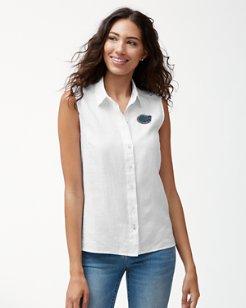 Collegiate Sea Glass Breezer Sleeveless Linen Shirt