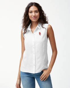 Collegiate Sea Glass Breezer Sleeveless Linen Shirt