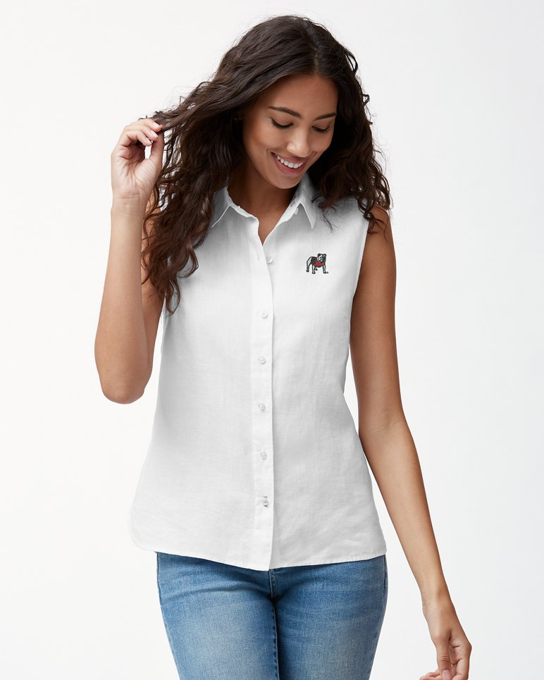 Main Image for Collegiate Sea Glass Breezer Sleeveless Linen Shirt