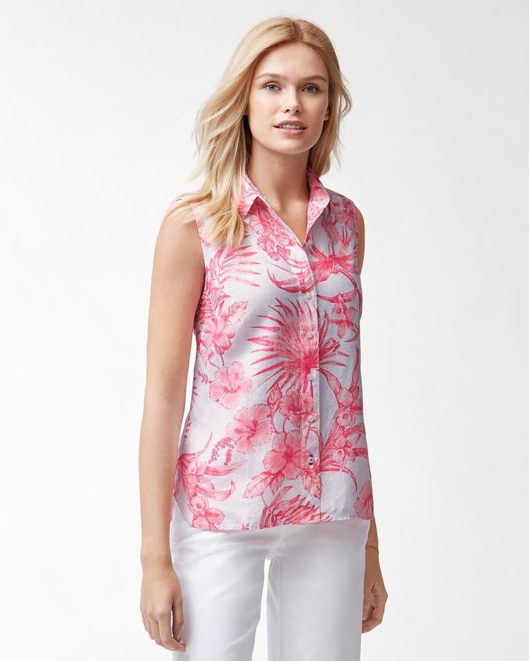 Main Image for Tulum Tropical Sleeveless Linen Shirt