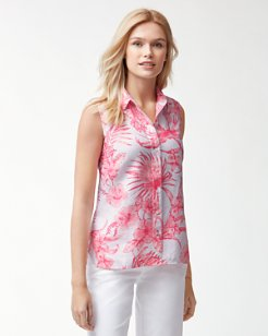 Tulum Tropical Sleeveless Linen Shirt