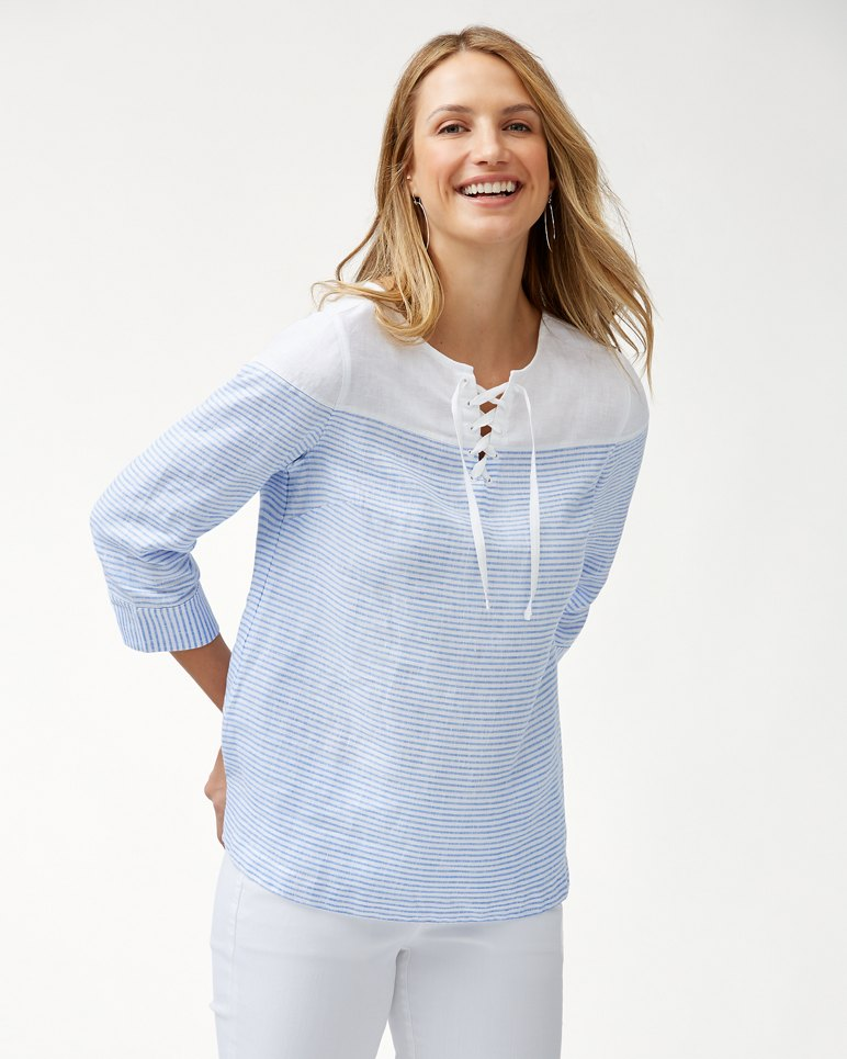 Main Image for Crystalline Waters Lace-Up Linen Top