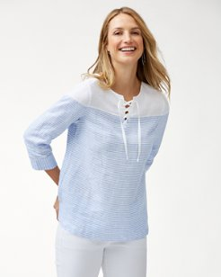 Crystalline Waters Lace-Up Linen Top