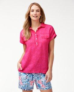 Sea Spray Short-Sleeve Linen Shirt