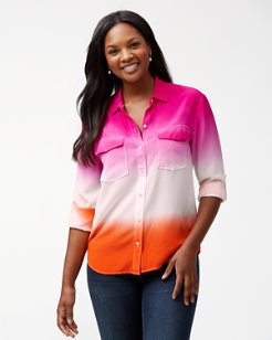 Ombré Agassi Long-Sleeve Dip-Dye Silk Shirt