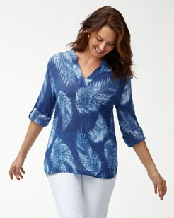 Tonga Fronds Split-Neck Gauze Top