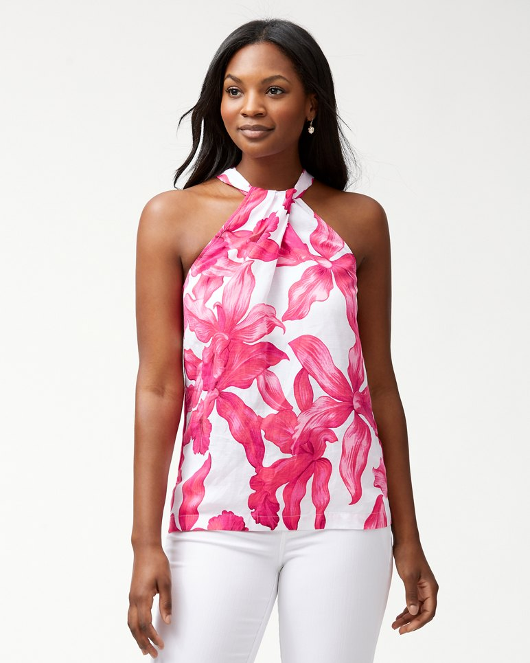 Main Image for Orchid Rua Linen-Blend Halter Top