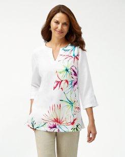 Flora Dei Marmi 3/4-Sleeve Linen Tunic