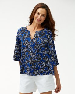 Forte Floral 3/4-Bell-Sleeve Tunic