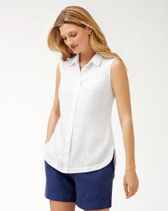 Shimmer Stripe Linen-Blend Sleeveless Top