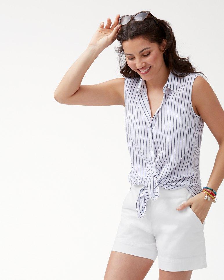 Main Image for Shimmer Stripe Linen-Blend Sleeveless Top