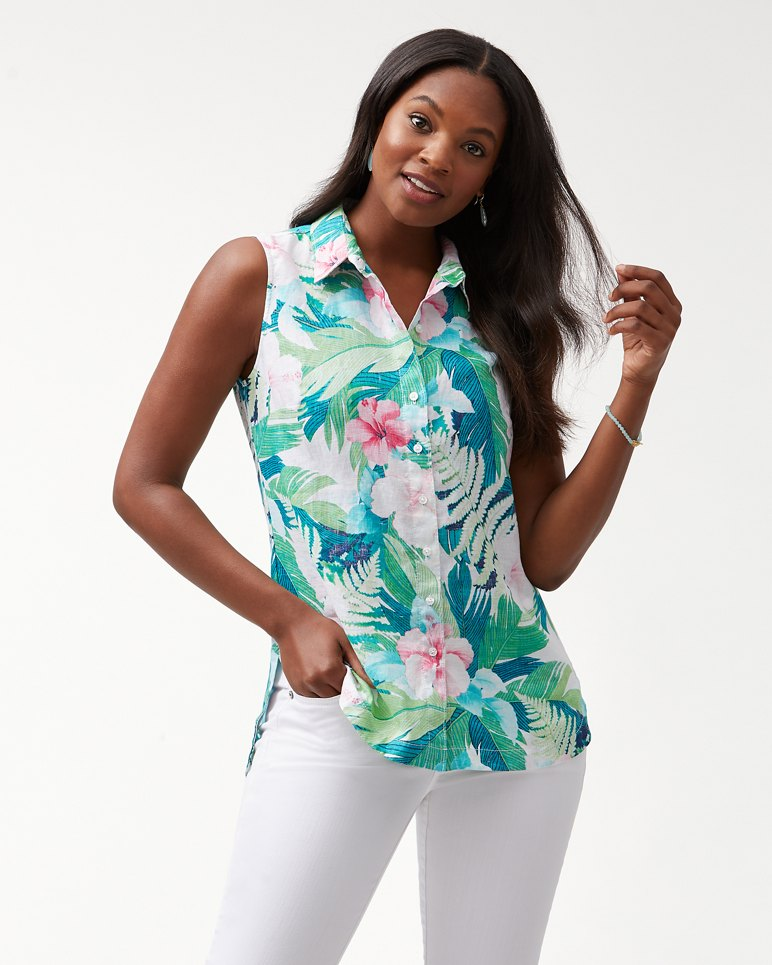 Main Image for Hibiscus Hues Sleeveless Linen Top