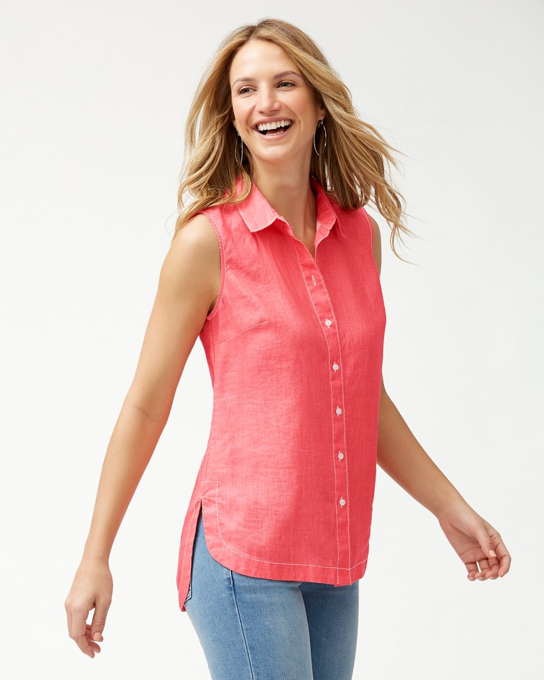 Main Image for Sea Glass Breezer Sleeveless Linen Shirt