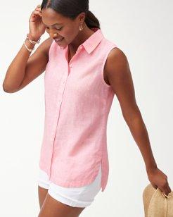 Sea Glass Breezer Sleeveless Linen Shirt