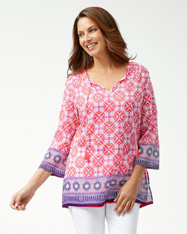 Main Image for Tropical Terraza 3/4-Sleeve Guaze Tunic